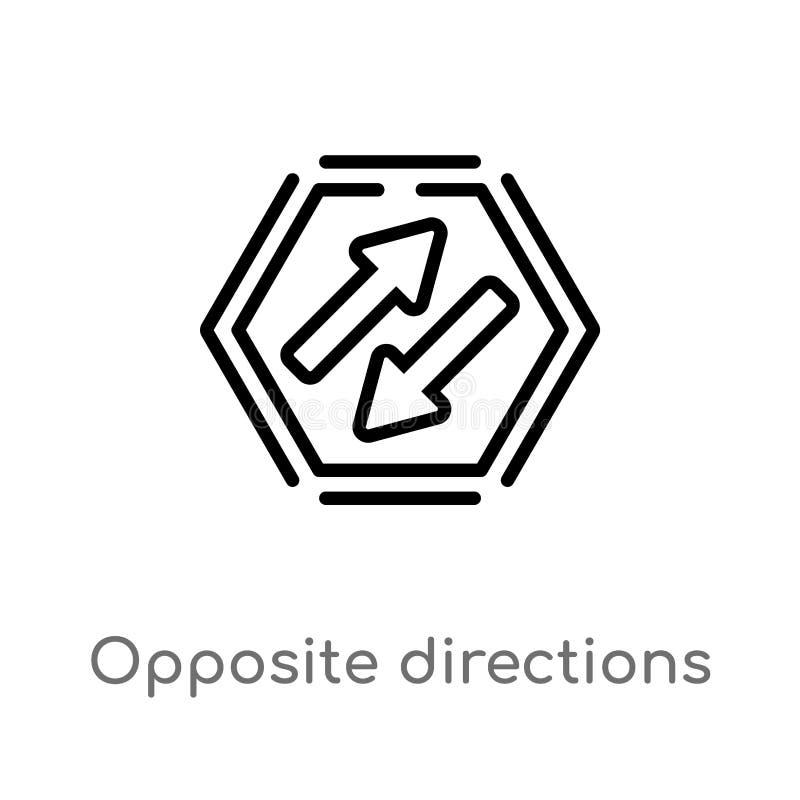 kontur naprzeciw kierunku wektoru ikony odosobniona czarna prosta kreskowego elementu ilustracja od interfejs u?ytkownika poj?cia ilustracji