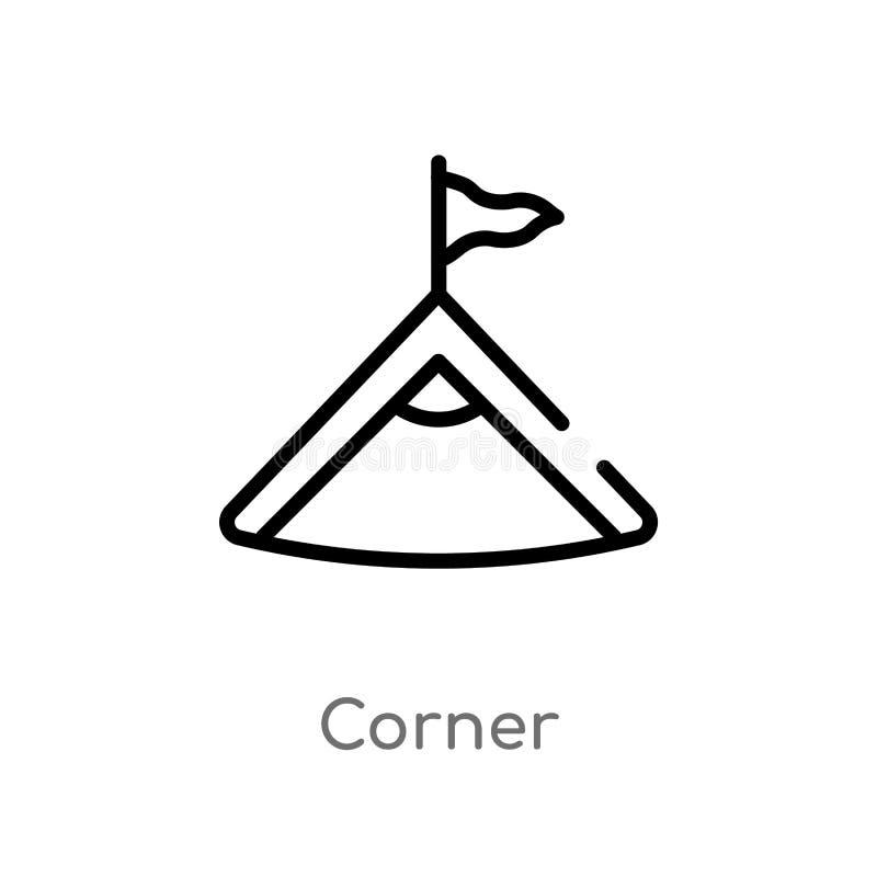 kontur narożnikowa wektorowa ikona odosobniona czarna prosta kreskowego elementu ilustracja od futbolowego pojęcia editable wekto ilustracja wektor