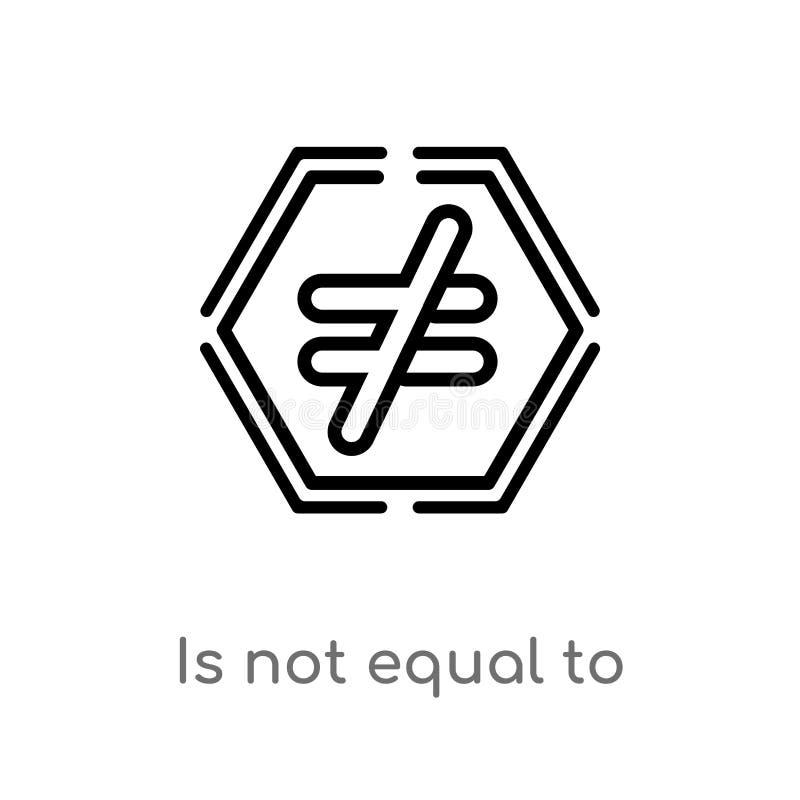 kontur no jest równy wektorowa ikona odosobniona czarna prosta kreskowego elementu ilustracja od znaka pojęcia editable wektorowy royalty ilustracja