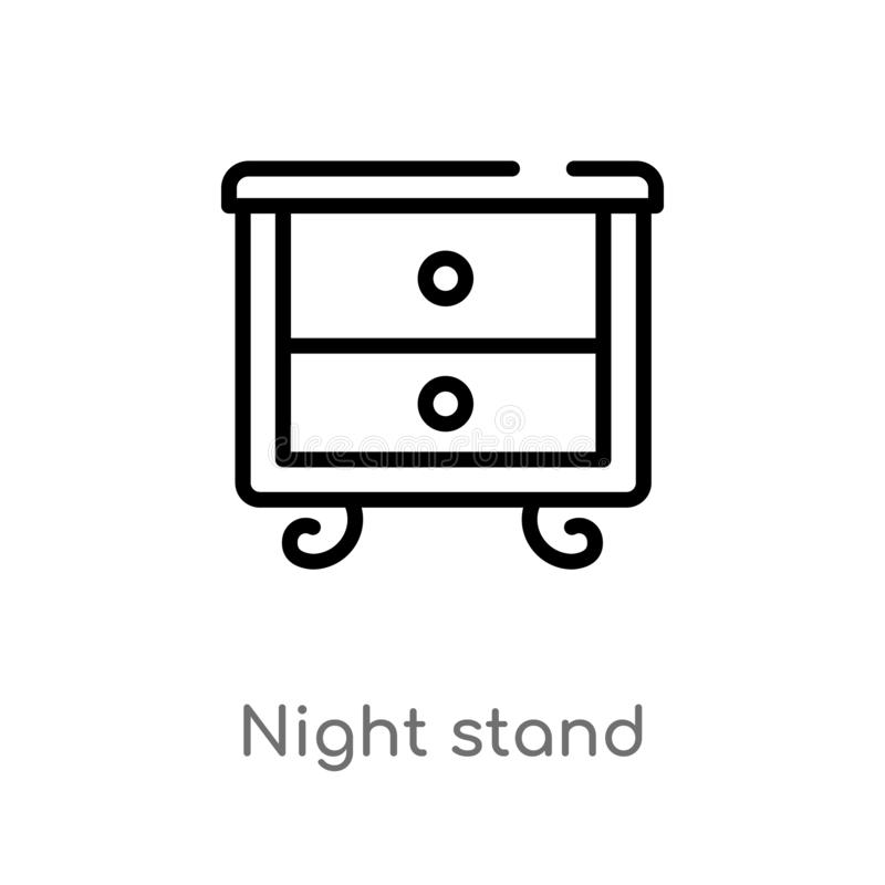 kontur nocy stojaka wektoru ikona odosobniona czarna prosta kreskowego elementu ilustracja od meble & gospodarstwa domowego poj?c royalty ilustracja