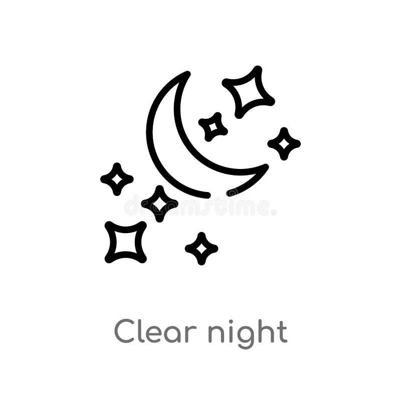kontur nocy wektoru jasna ikona odosobniona czarna prosta kreskowego elementu ilustracja od kszta?ta poj?cia editable wektorowy u royalty ilustracja