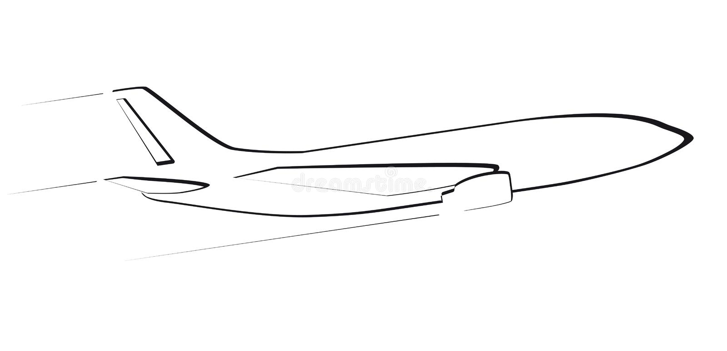 Kontur nowożytny dżetowy samolot Boczny widok W locie fotografia royalty free