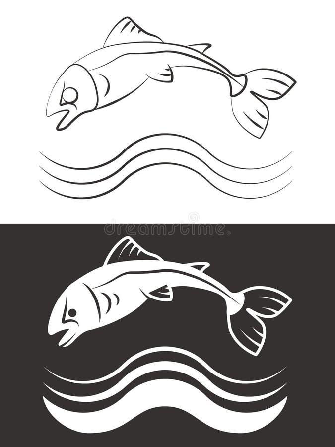 Kontur och linje fisk med vågor stock illustrationer