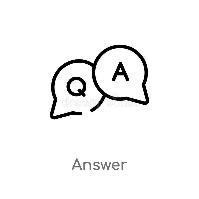 kontur odpowiedzi wektoru ikona odosobniona czarna prosta kreskowego elementu ilustracja od interfejs u?ytkownika poj?cia Editabl ilustracji