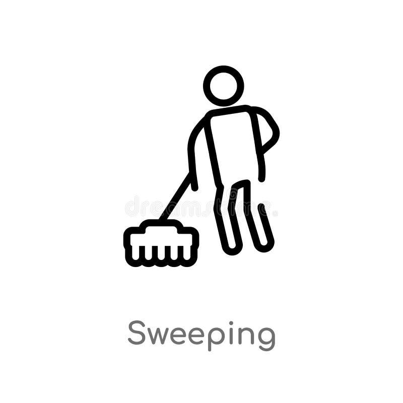 kontur ogólna wektorowa ikona odosobniona czarna prosta kreskowego elementu ilustracja od czyści pojęcia Editable wektorowy uderz ilustracja wektor