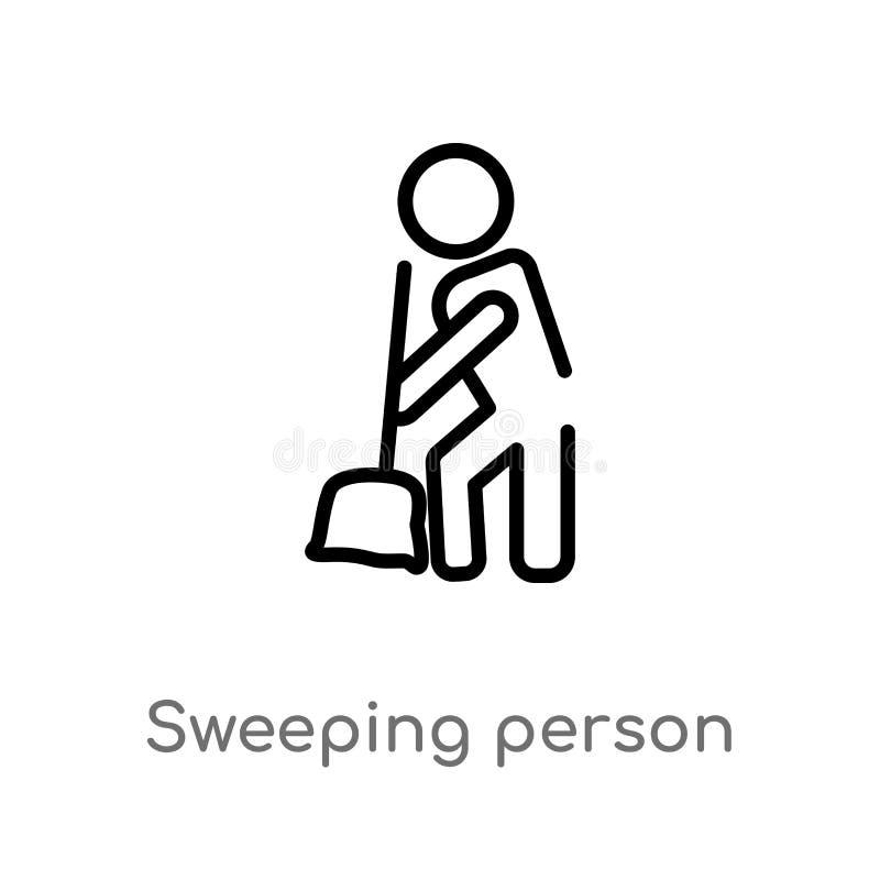 kontur osoby wektoru ogólna ikona odosobniona czarna prosta kreskowego elementu ilustracja od ludzi poj?? Editable wektorowy uder ilustracja wektor