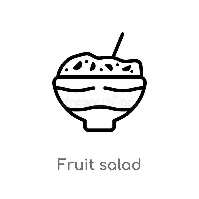 kontur owocowej sa?atki wektoru ikona odosobniona czarna prosta kreskowego elementu ilustracja od karmowego poj?cia editable wekt royalty ilustracja
