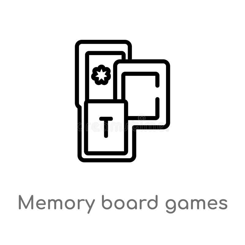 kontur pamięci gier planszowych wektoru ikona odosobniona czarna prosta kreskowego elementu ilustracja od rozrywki pojęcia _ royalty ilustracja