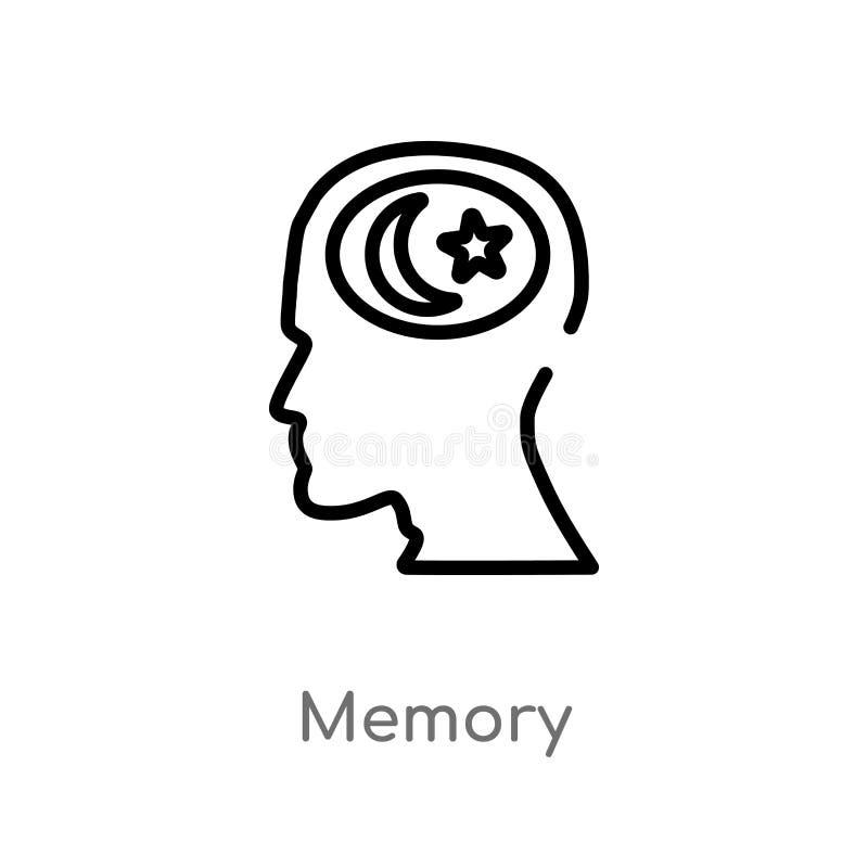 kontur pamięci wektoru ikona odosobniona czarna prosta kreskowego elementu ilustracja od mózg procesu pojęcia Editable wektorowy  royalty ilustracja