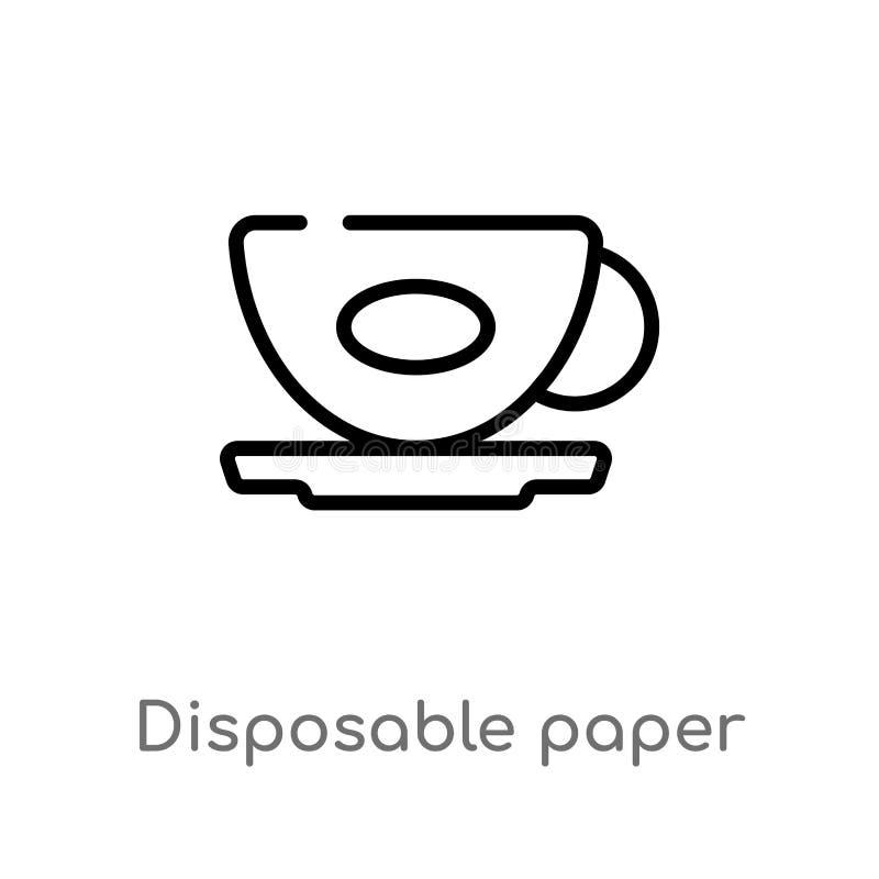 kontur papierowej fili?anki wektoru rozporz?dzalna ikona odosobniona czarna prosta kreskowego elementu ilustracja od karmowego po ilustracja wektor