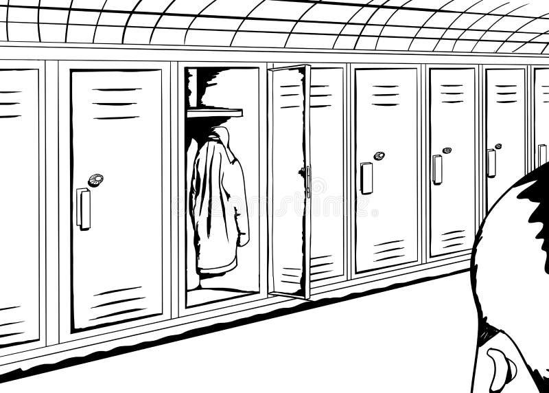 Kontur Patrzeje Otwartą szafkę osoba ilustracja wektor
