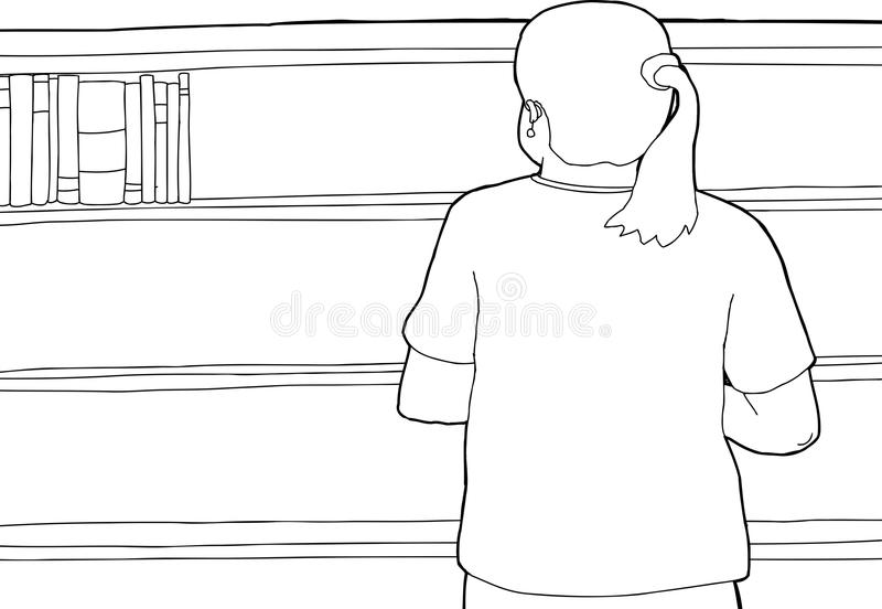 Kontur Patrzeje Pustą półkę kobieta ilustracja wektor
