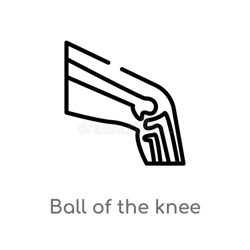 kontur piłka kolanowa wektorowa ikona odosobniona czarna prosta kreskowego elementu ilustracja od cia?o ludzkie cz??ci poj?cia _ royalty ilustracja