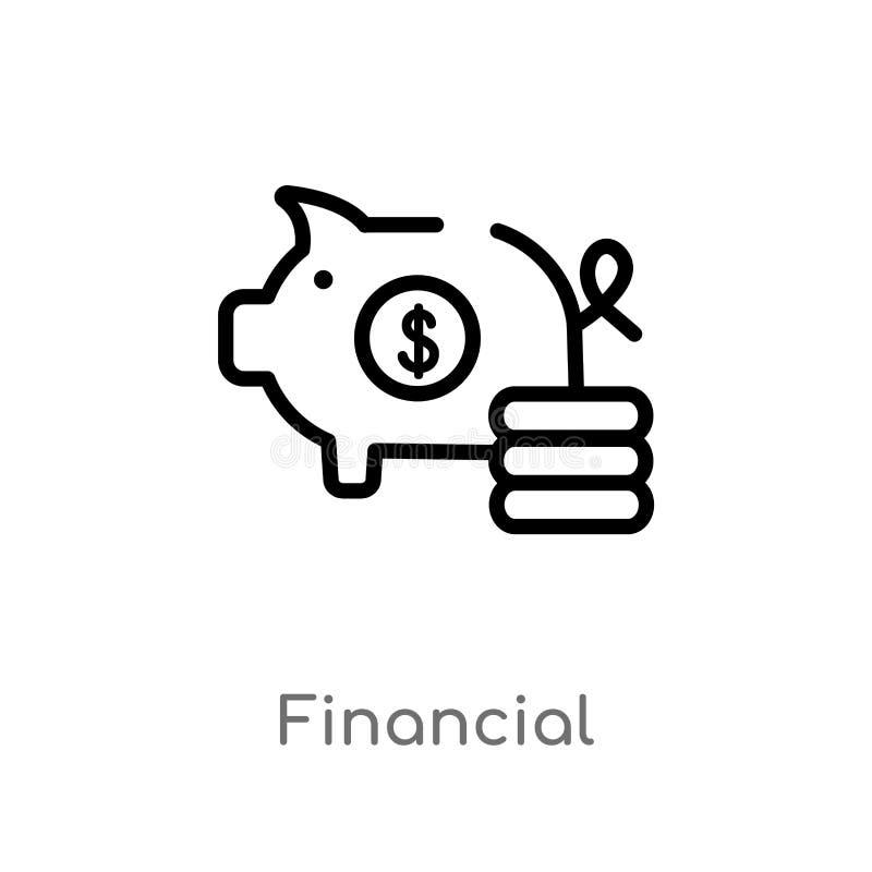 kontur pieniężna wektorowa ikona odosobniona czarna prosta kreskowego elementu ilustracja od płatniczego metody pojęcia Editable  ilustracja wektor