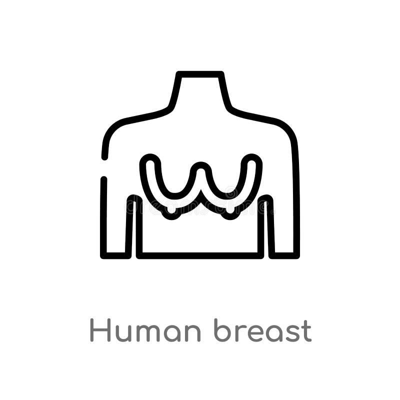 kontur piersi wektoru ludzka ikona odosobniona czarna prosta kreskowego elementu ilustracja od ciało ludzkie części pojęcia Edita royalty ilustracja