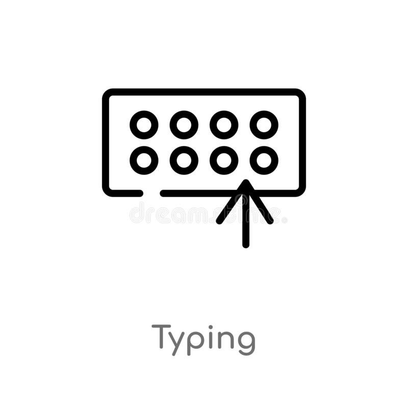 kontur pisać na maszynie wektorową ikonę odosobniona czarna prosta kreskowego elementu ilustracja od kursoru poj?cia editable wek ilustracja wektor