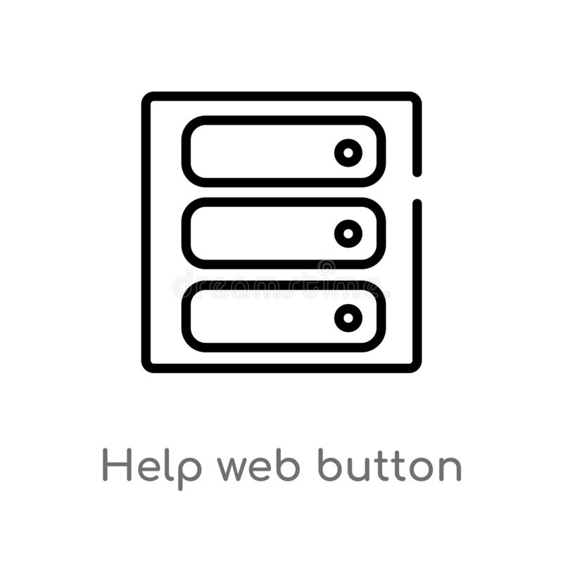 kontur pomocy sieci guzika wektoru ikona odosobniona czarna prosta kreskowego elementu ilustracja od interfejs u?ytkownika poj?ci ilustracji
