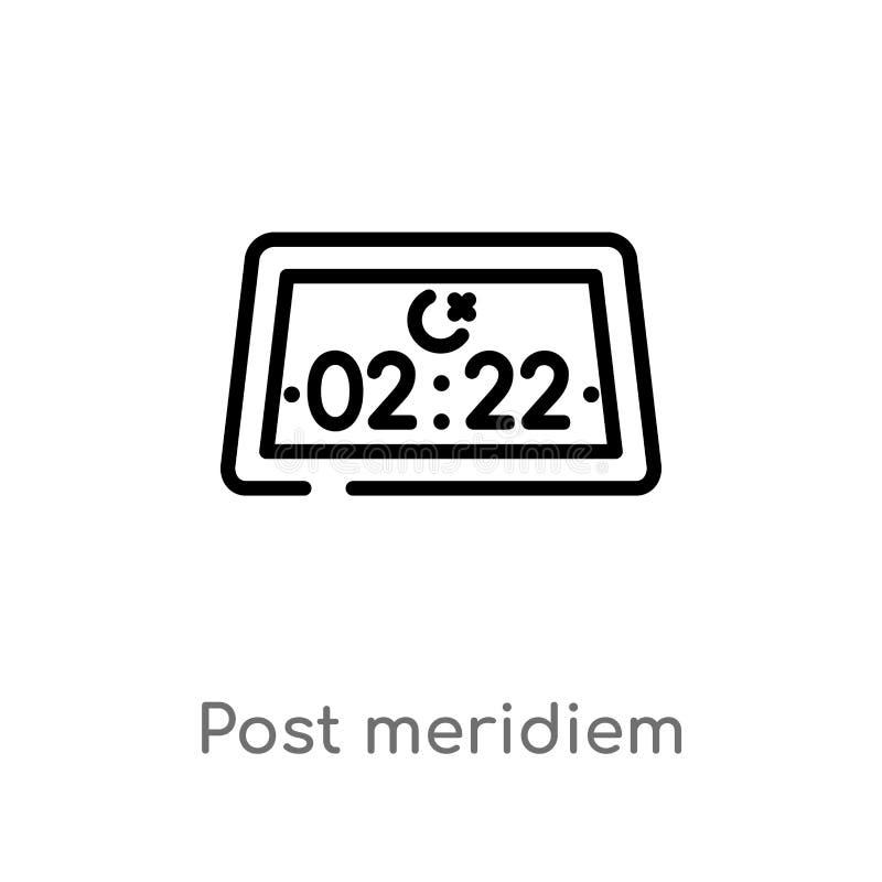 kontur post meridiem wektorowa ikona odosobniona czarna prosta kreskowego elementu ilustracja od czasu i daty pojęcia Editable we ilustracji
