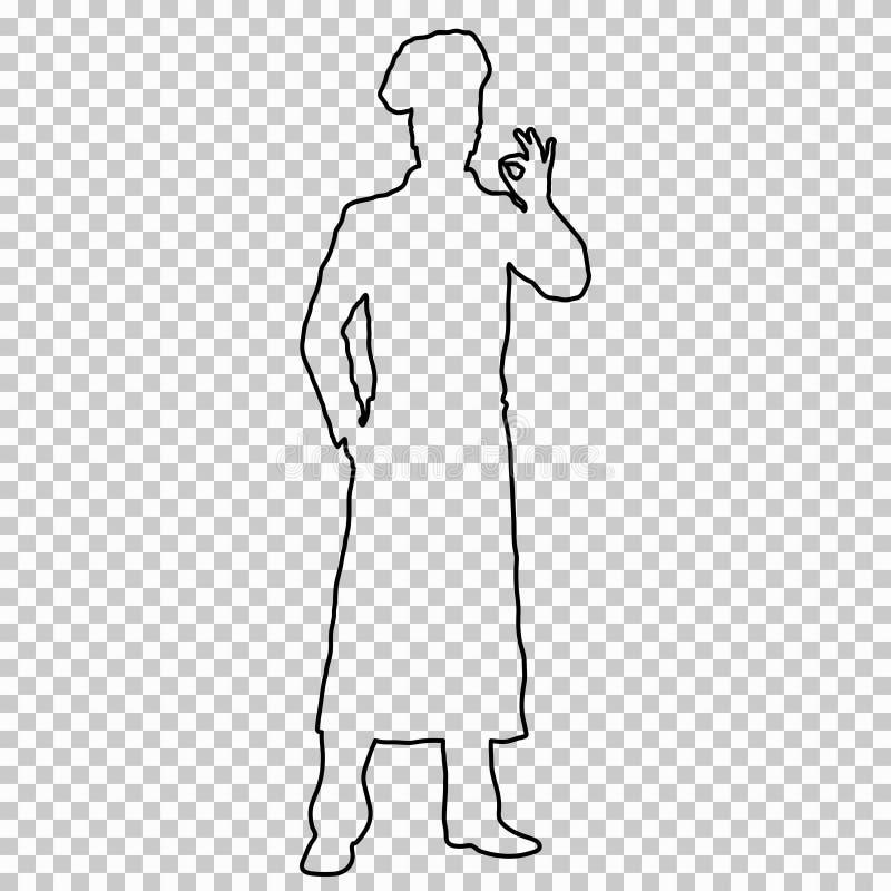 Kontur postaci mężczyzna kucharz długi na przejrzystym tle, konturowego portreta męski kitchener w szefa kuchni s formie, torque ilustracja wektor
