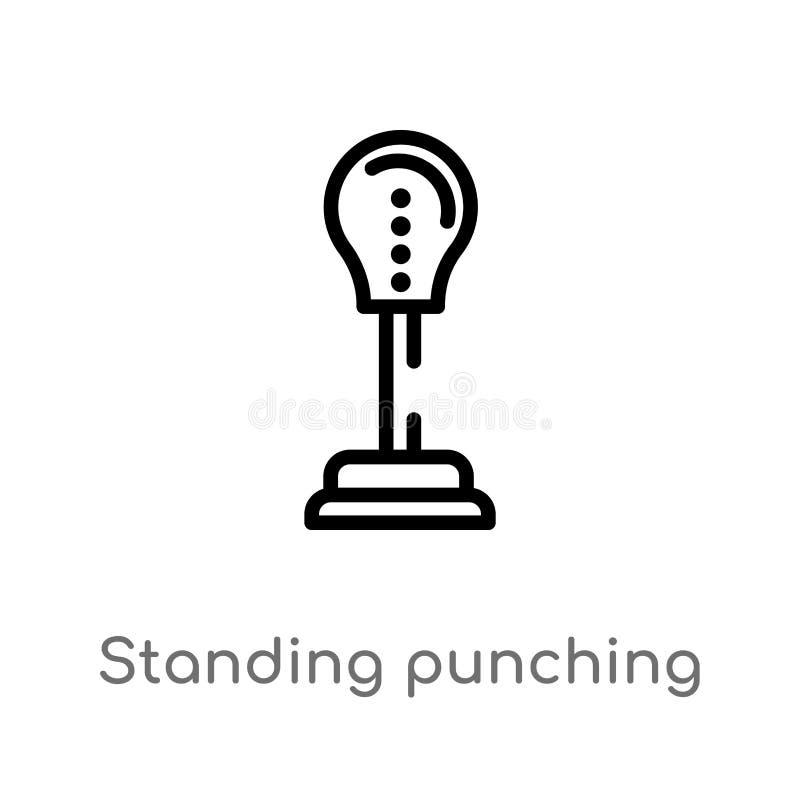 kontur pozycja uderza pięścią balową wektorową ikonę odosobniona czarna prosta kreskowego elementu ilustracja od gym i sprawności ilustracji