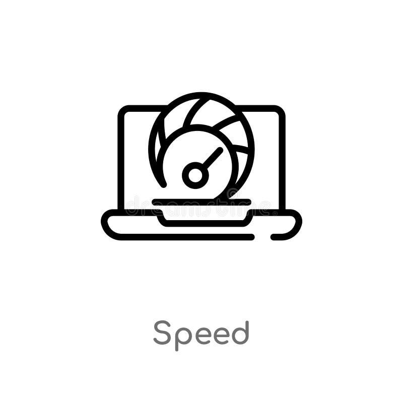 kontur prędkości wektoru ikona odosobniona czarna prosta kreskowego elementu ilustracja od seo & sieci pojęcia editable wektorowa ilustracja wektor