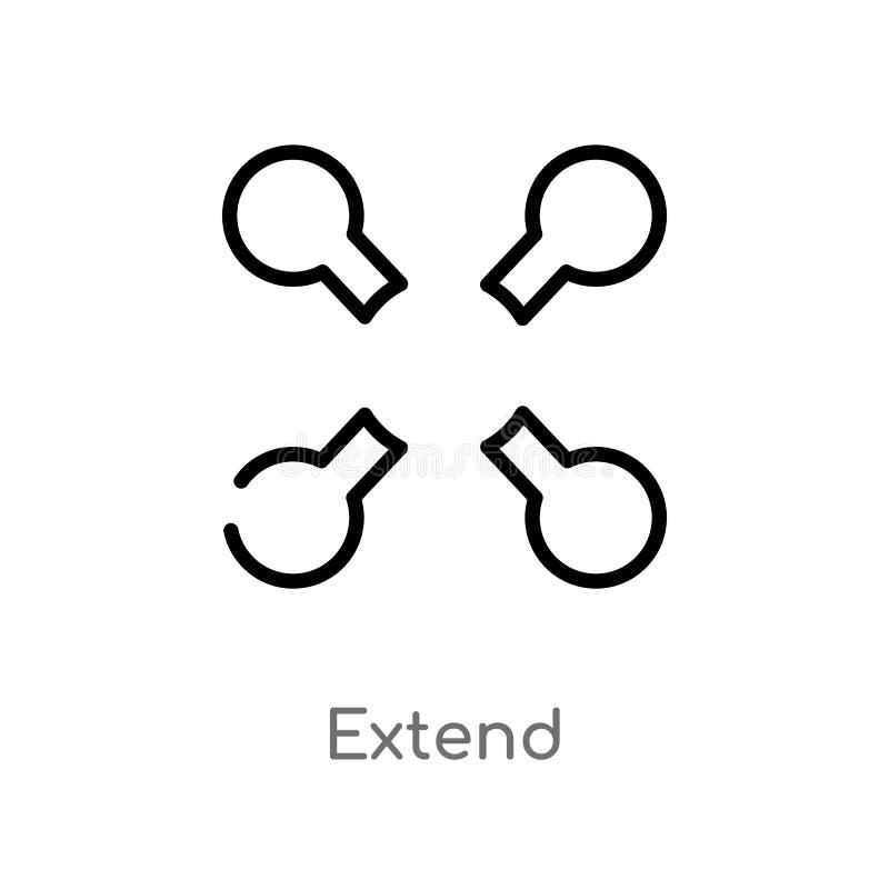 kontur przedłużyć wektorową ikonę odosobniona czarna prosta kreskowego elementu ilustracja od geometrii pojęcia editable wektorow ilustracja wektor