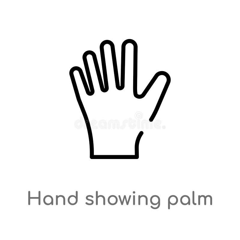 kontur ręka pokazuje palmową wektorową ikonę odosobniona czarna prosta kreskowego elementu ilustracja od cia?o ludzkie cz??ci poj ilustracji