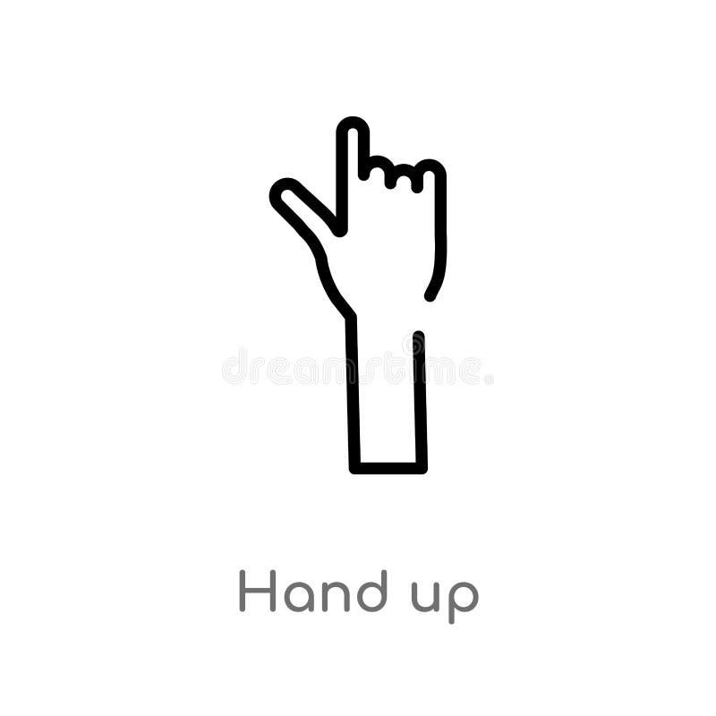 kontur ręka w górę wektorowej ikony odosobniona czarna prosta kreskowego elementu ilustracja od gesta poj?cia editable wektorowa  ilustracja wektor