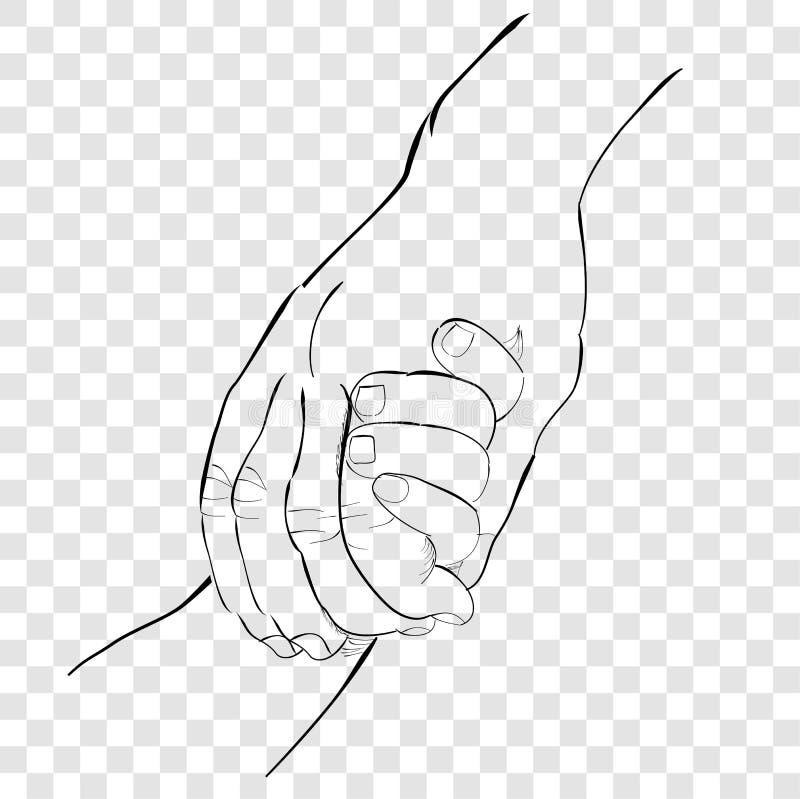 Kontur ręki remisu nakreślenie, Dorosła ręka i dziecko ręka przy przejrzystym skutka tłem, ilustracji