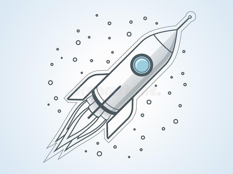 Kontur rakieta Podróż Kosmiczna Projekt zaczyna up i proces rozwoju royalty ilustracja