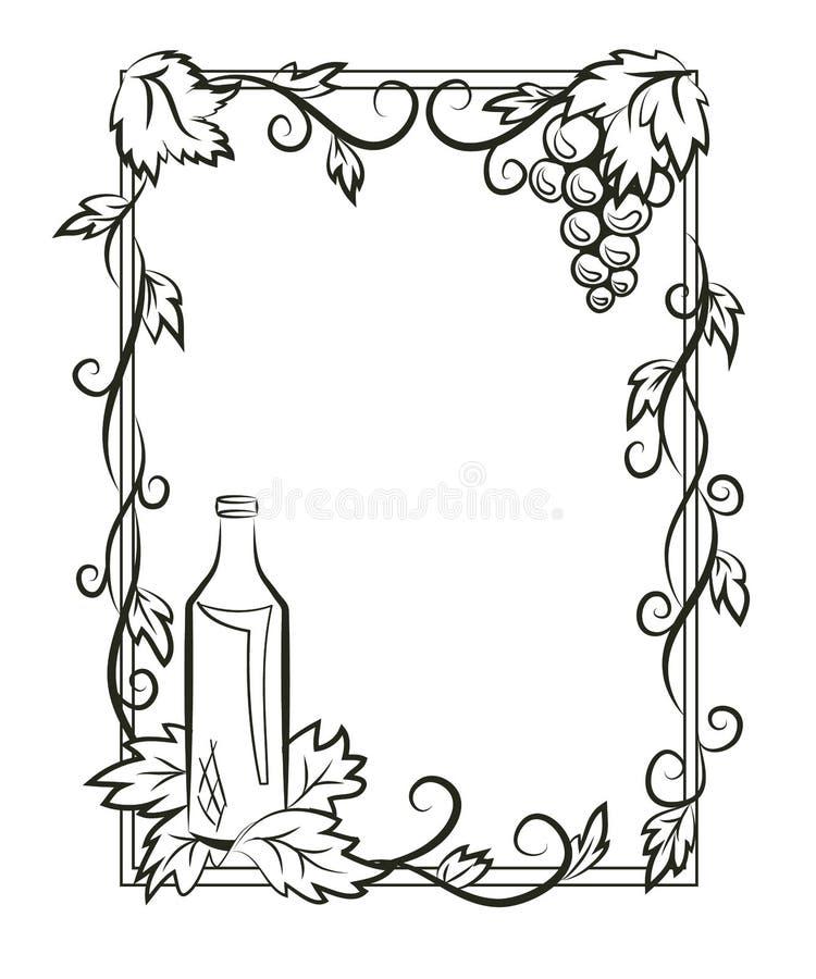 Kontur rama z winogronami ilustracja wektor