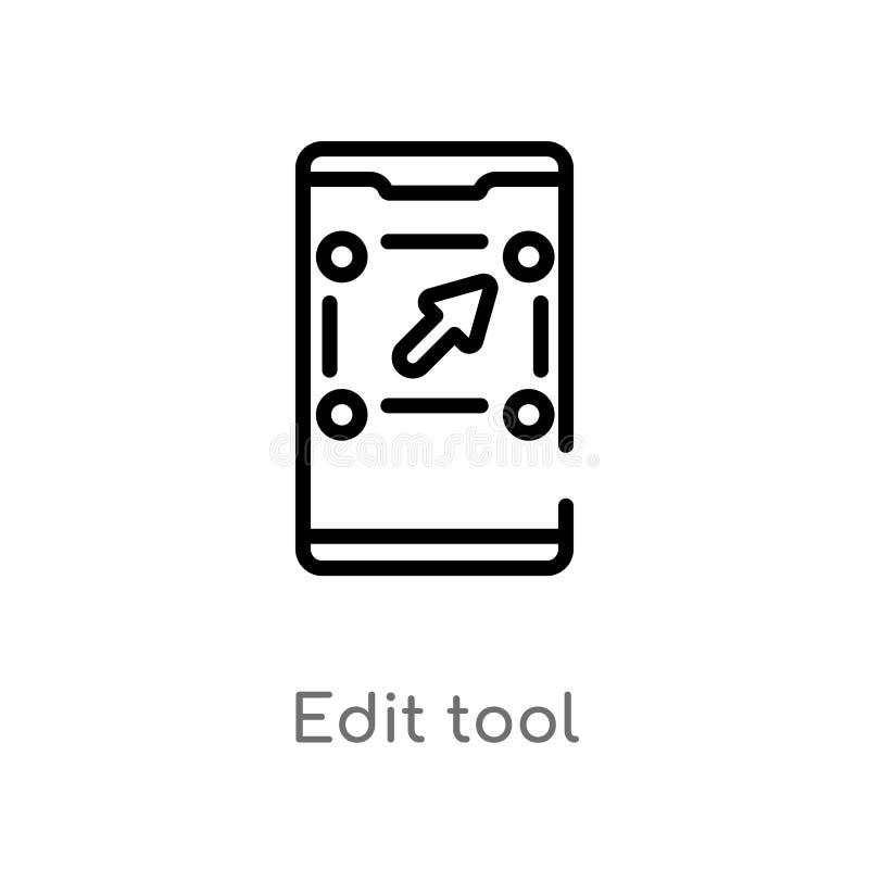 kontur redaguje narzędziową wektorową ikonę odosobniona czarna prosta kreskowego elementu ilustracja od mobilnego app poj?cia Edi ilustracja wektor