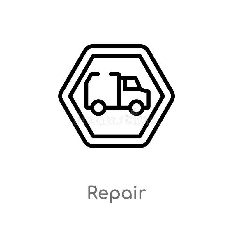 kontur remontowa wektorowa ikona odosobniona czarna prosta kreskowego elementu ilustracja od przewiezionego poj?cia editable wekt ilustracja wektor