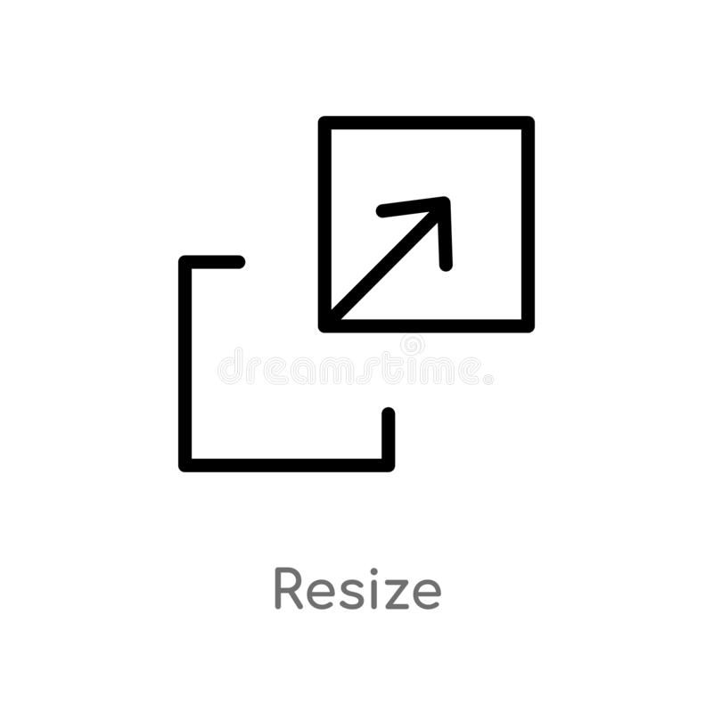 kontur resize wektorową ikonę odosobniona czarna prosta kreskowego elementu ilustracja od strzały pojęcia editable wektorowy uder ilustracja wektor