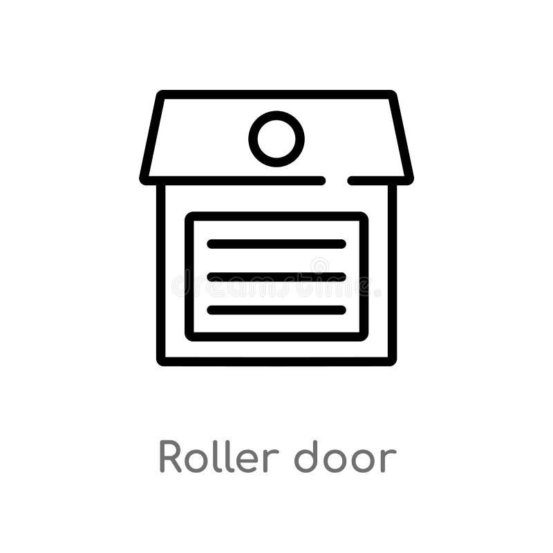 kontur rolkowa drzwiowa wektorowa ikona odosobniona czarna prosta kreskowego elementu ilustracja od budynku poj?cia Editable wekt ilustracja wektor