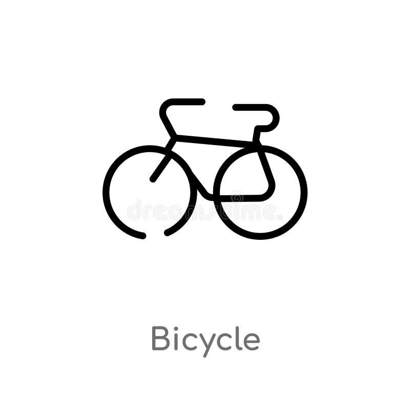 Kontur rowerowa wektorowa ikona odosobniona czarna prosta kreskowego elementu ilustracja od map i flagi pojęcia Editable wektorow ilustracji