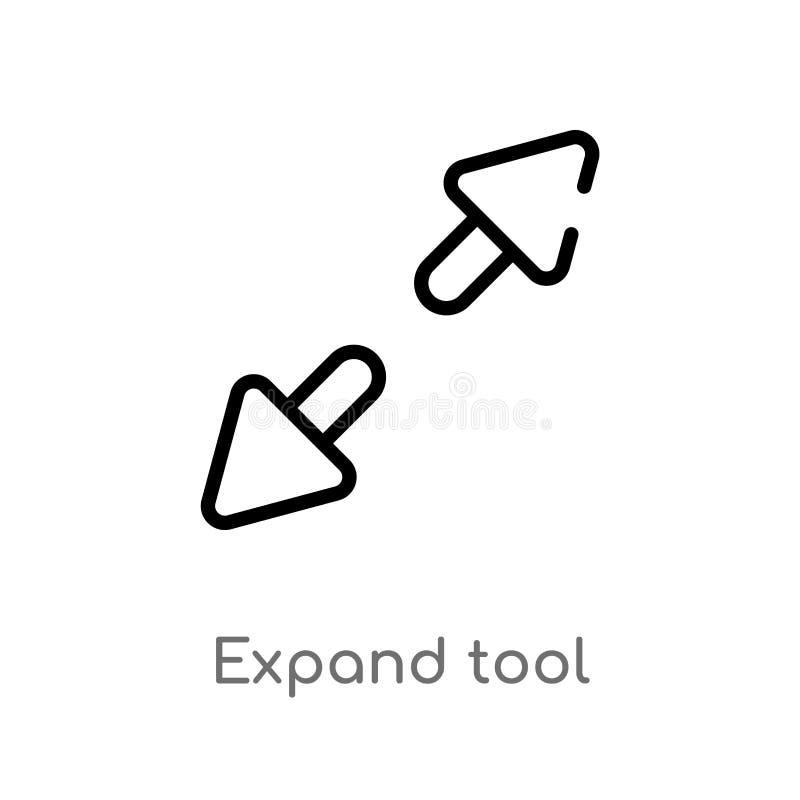 kontur rozszerza narzędziową wektorową ikonę odosobniona czarna prosta kreskowego elementu ilustracja od interfejs u?ytkownika po ilustracji
