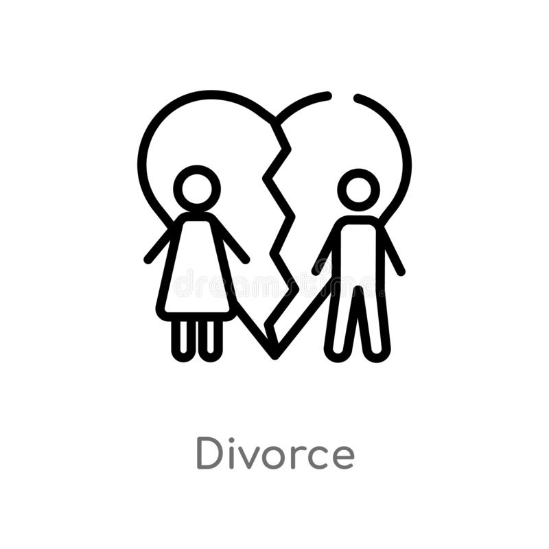 kontur rozwodowa wektorowa ikona odosobniona czarna prosta kreskowego elementu ilustracja od prawa i sprawiedliwości pojęcia Edit royalty ilustracja