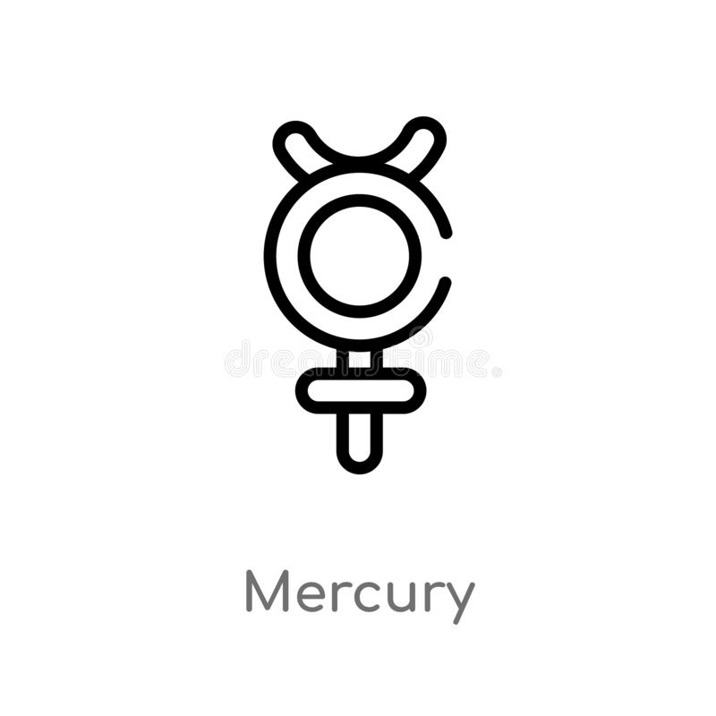 kontur rtęci wektoru ikona odosobniona czarna prosta kreskowego elementu ilustracja od zodiaka pojęcia editable wektorowa uderzen ilustracji
