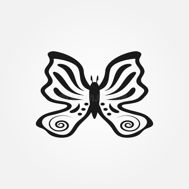 Kontur rysujący ręką motyl Odosobniona ikona, znak, logo, symbol ilustracja wektor