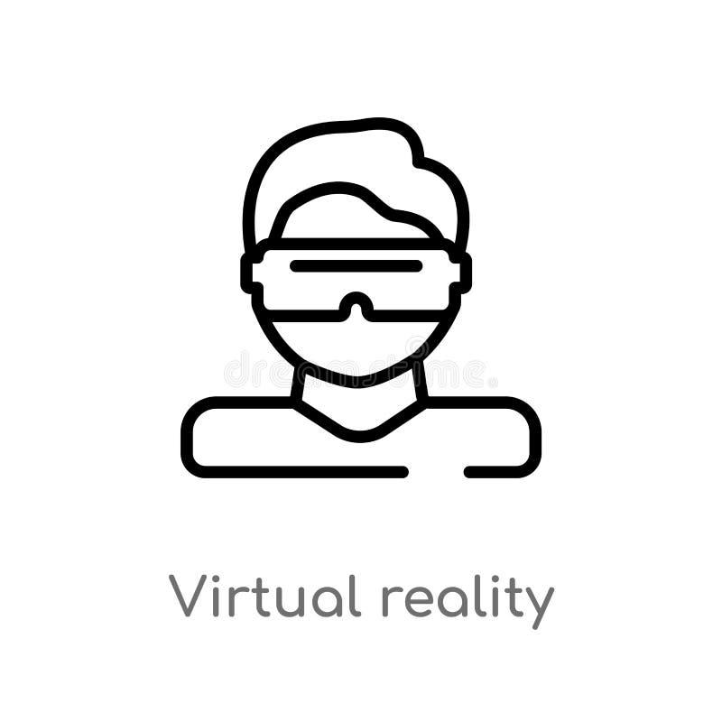 kontur rzeczywistości wirtualnej wektoru ikona odosobniona czarna prosta kreskowego elementu ilustracja od mądrze domowego pojęci royalty ilustracja