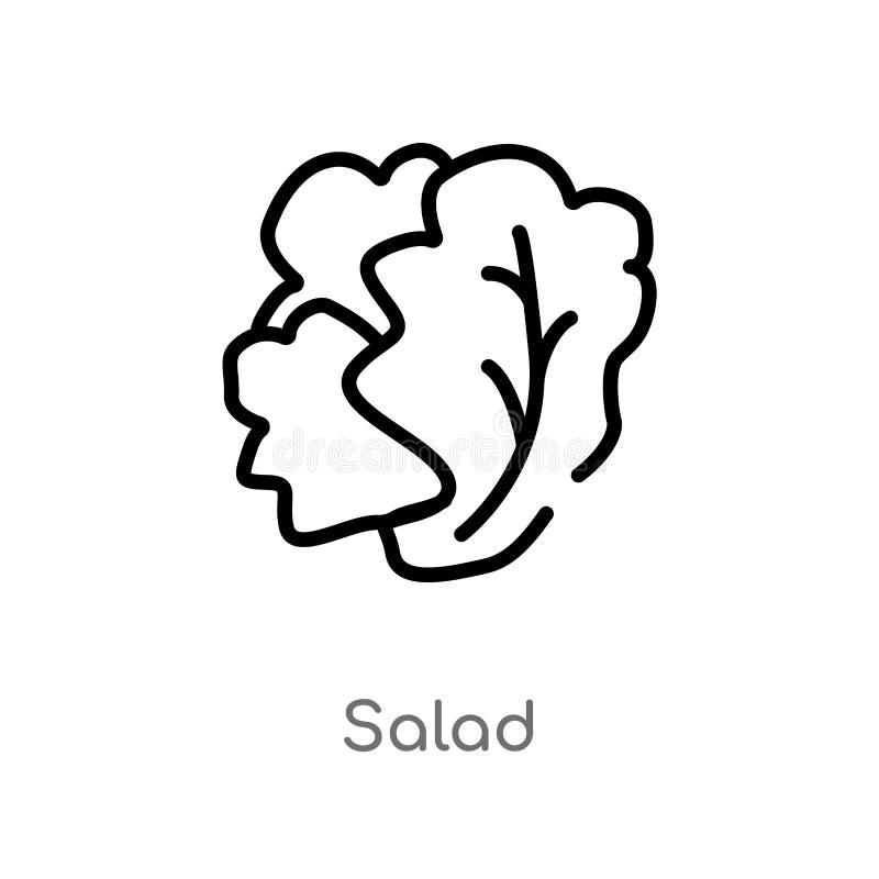 kontur sałatkowa wektorowa ikona odosobniona czarna prosta kreskowego elementu ilustracja od owoc pojęcia editable wektorowa uder ilustracji