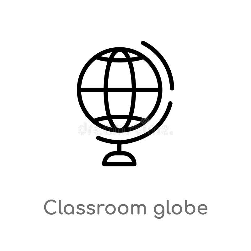 kontur sali lekcyjnej kuli ziemskiej wektoru ikona odosobniona czarna prosta kreskowego elementu ilustracja od edukacji pojęcia E ilustracji