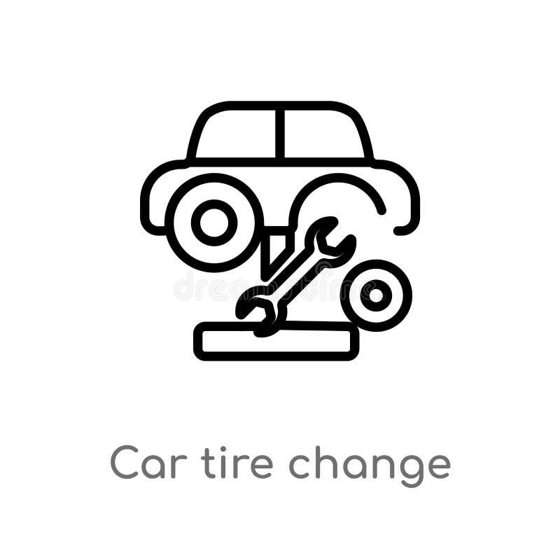 kontur samochodowej opony zmiany wektoru ikona odosobniona czarna prosta kreskowego elementu ilustracja od mechanicons pojęcia Ed ilustracji