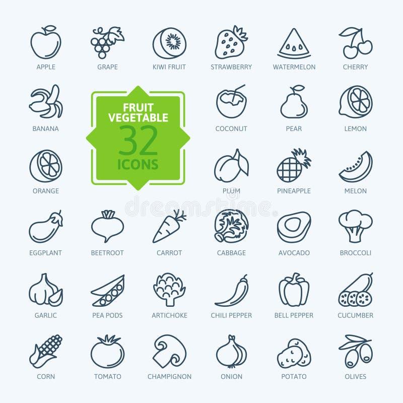 Kontur sieci ikona ustawiająca - owoc i warzywo royalty ilustracja