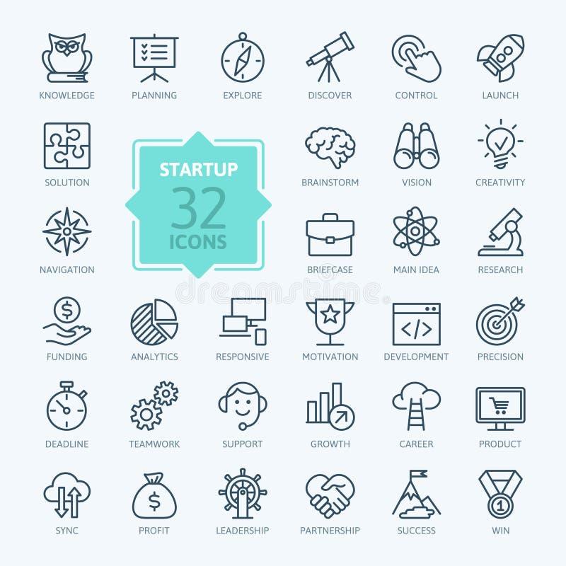 Kontur sieci ikona ustawiająca - uruchomienie projekt royalty ilustracja