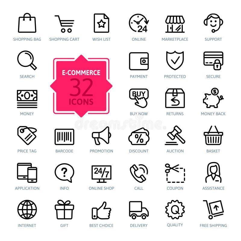 Kontur sieci ikony ustawiać - handel elektroniczny ilustracja wektor