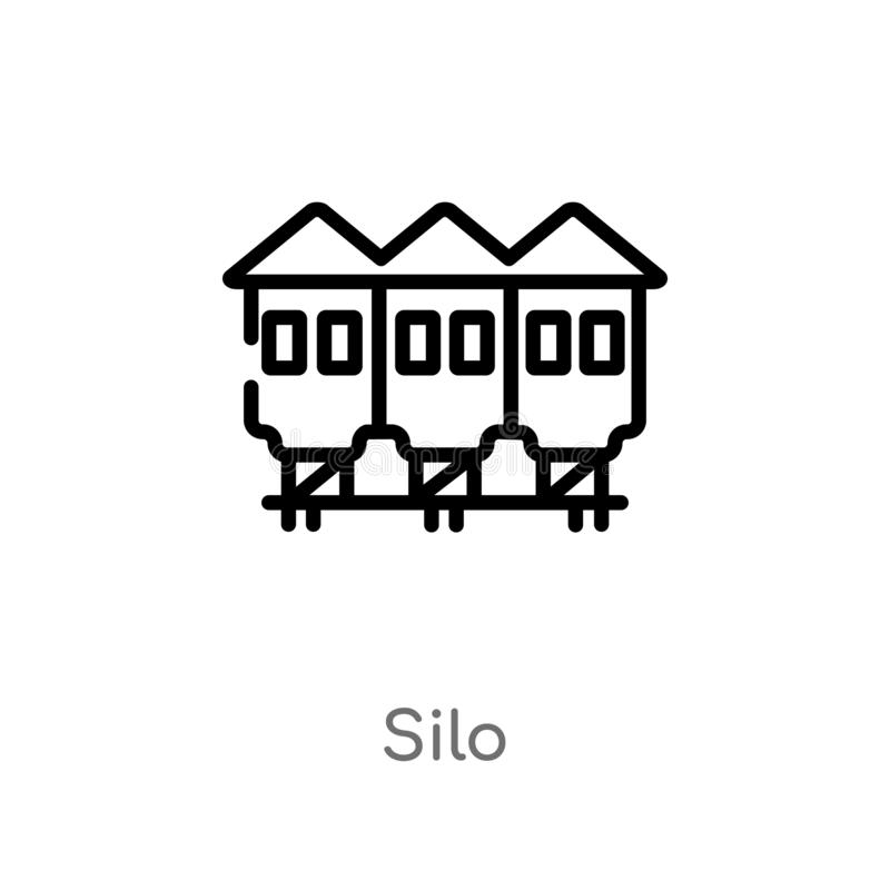 kontur silosowa wektorowa ikona odosobniona czarna prosta kreskowego elementu ilustracja od uprawiać ziemię pojęcie editable wekt royalty ilustracja