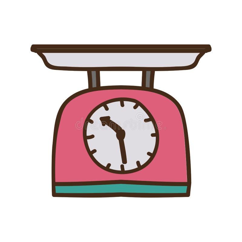 kontur som är färgrik med kökviktskalan stock illustrationer