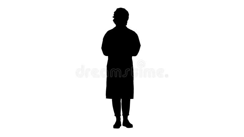 Kontur som ler den gulliga kvinnan f?r medicinsk doktor som talar till kameran royaltyfri illustrationer